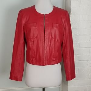 Ellen Tracy Red Vegan Leather Cropped Jacket